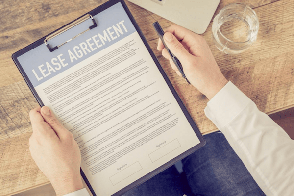 person looking at lease agreement